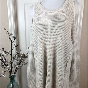 Sweater cold shoulder thick waffle type material